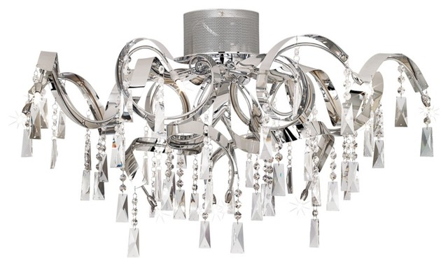 "Possini Euro Chrome Curl Ribbon 34 1/4"" Wide Ceiling Light contemporary-ceiling-lighting"