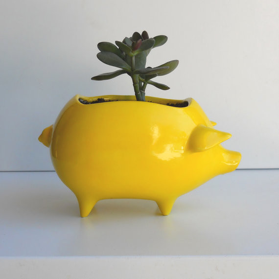 Ceramic Pig Planter Vintage Design in Lemon Yellow by Fruit Fly Pie eclectic indoor pots and planters