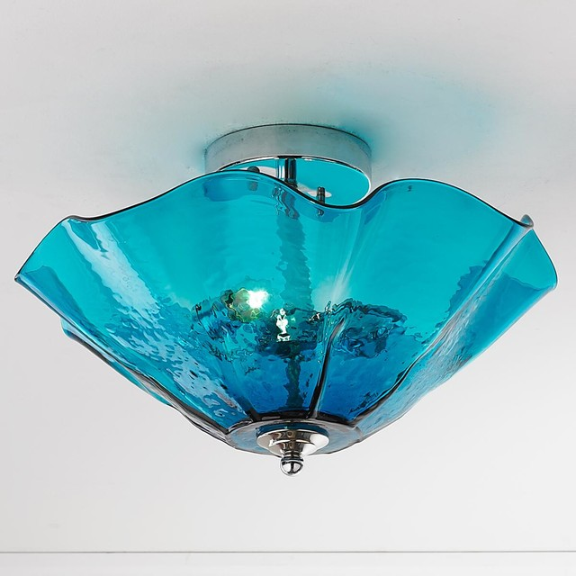 Clearly Colorful Ruffled Glass Ceiling Light - Flush-mount ...
