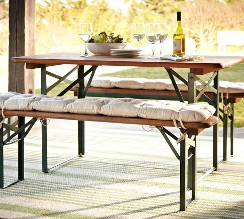 Tavern Rectangular Fixed Folding Dining Table And Bench