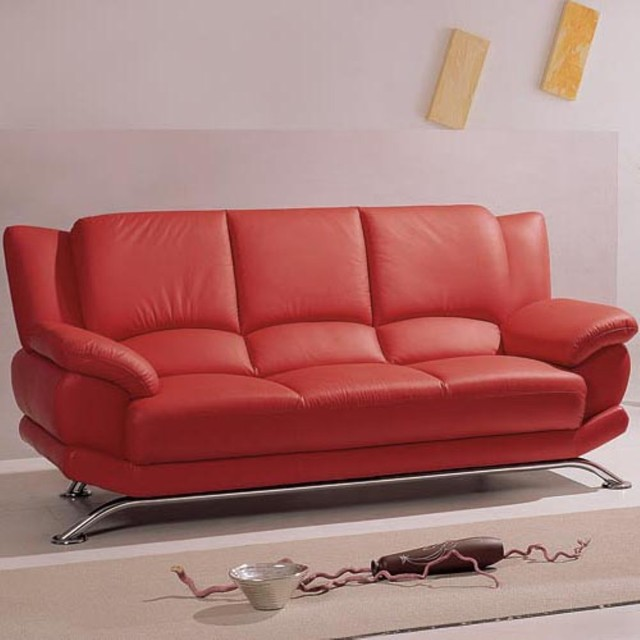 Sevant Red Leather Sofa Modern Sofas By Hayneedle