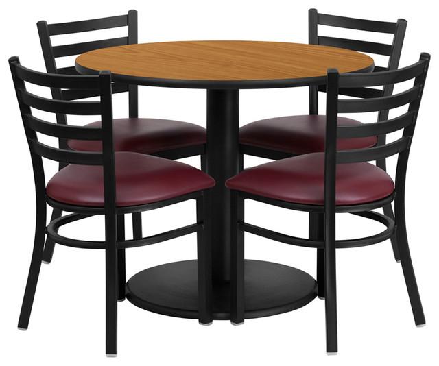 36 Dining Table Set: Flash Furniture 36 Inch Round Natural Laminate Table Set
