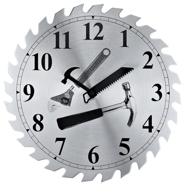 Saw Blade Workshop Clock - Contemporary - Clocks - by LexMod