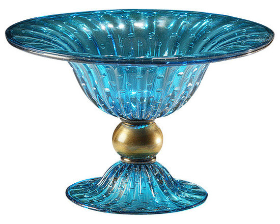 """Inviting Home - Venetian Glass Bowl (aqua and gold) - Hand-blown aqua and gold round Venetian glass bowl with bubbled pattern 14-3/4"""" x 11""""H made in Murano Italy Hand-blown aqua and gold round Venetian glass bowl with bubbled pattern. Made in Murano Italy."""