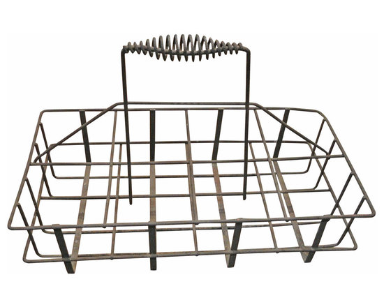 Wrought Iron 8 Bottle Carrier - Primitive Milk Carrier with Spiral Handle