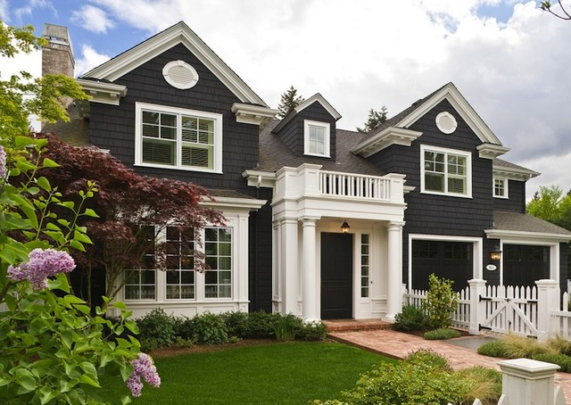 Black Shingle Board House traditional-exterior