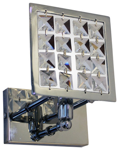 Square Chrome Crystal Wall Sconce Light Fixture, Chrome Finish contemporary-wall-lighting