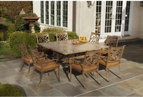 Alfresco Home Sarasota Cast Aluminum 64 in. Square Patio Dining Set - Seats 8 contemporary-outdoor-dining-tables