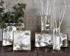 Mercury Glass Cityscape Vases vases