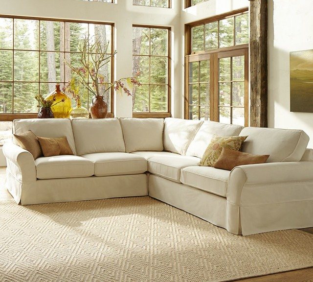 Pb Comfort Slipcovered 3 Pieced L Shape Sectional