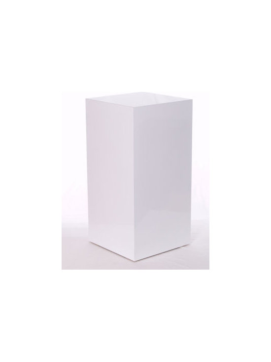 White Gloss Laminate Pedestals - This high quality gloss white laminate pedestal uses the same construction methods and materials we use to produce products for companies like Crate & Barrel