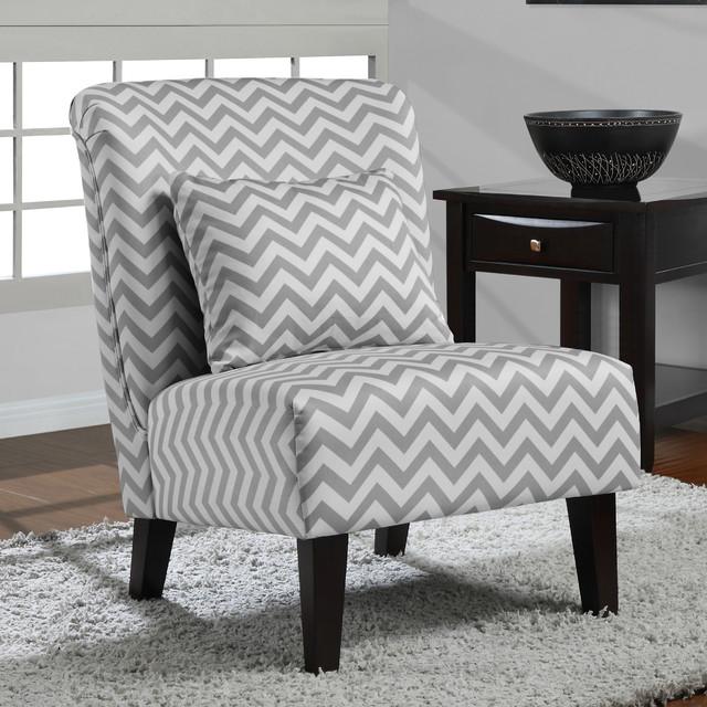 Anna Grey White Chevron Accent Chair Contemporary