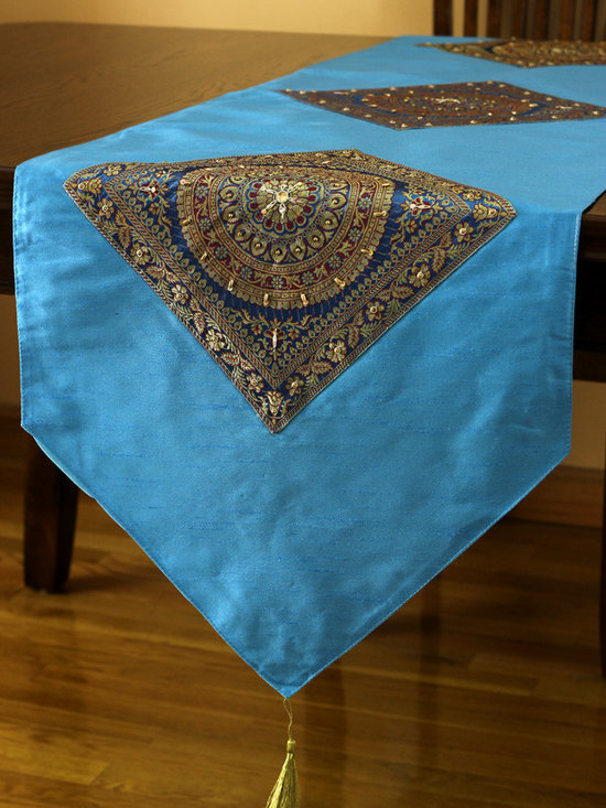 """Elegant Table Runners - Bright """"Oriental Harmony"""" table runner. Citrus Blue Turquoise. Decorative Indian hand crafted design."""