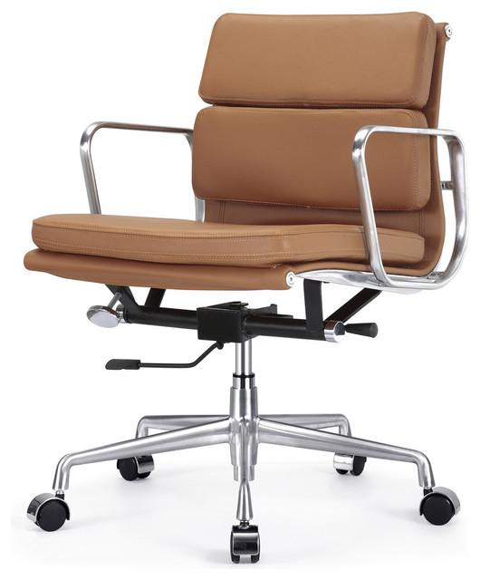 M342 eames style soft pad office chair in brown leather for Modern leather office chairs