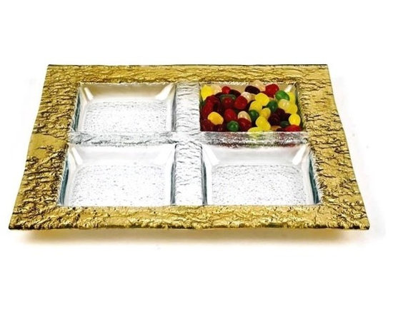 Imported - Square 12 inch Gold Sectional Tray - Serving tray with gold plated pattern.