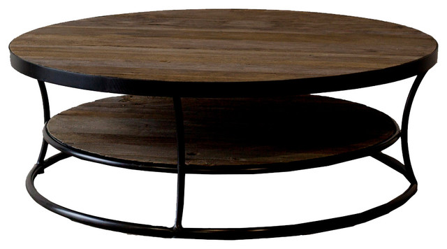 Milan reclaimed wood round coffee table Rustic round coffee table