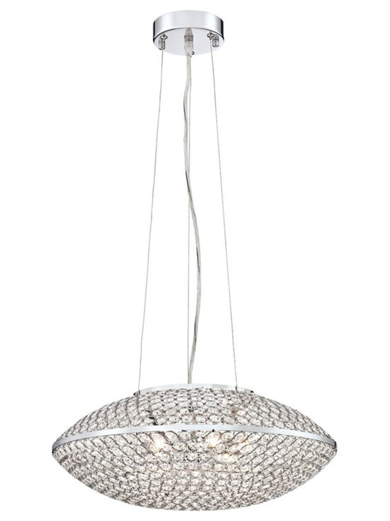 """Possini Euro Design - Possini Euro Geneva 18 1/4"""" Wide Crystal Pendant Light - Geneva contemporary pendant light. By Possini Euro Design. Chrome finish. Metal frame with clear crystal circles. Six maximum 60 watt or equivalent G9 halogen bulbs (not included). Measures 18"""" wide.  Geneva contemporary pendant light.  By Possini Euro Design.  Chrome finish.  Metal frame with clear crystal circles.  Includes six 40 watt G9 halogen bulbs.  Measures 18 1/4"""" wide 7"""" high.   Includes 11 feet of cord.   Canopy is 4 3/4"""" round 1 1/4"""" high.   8.2 lb. hang weight."""