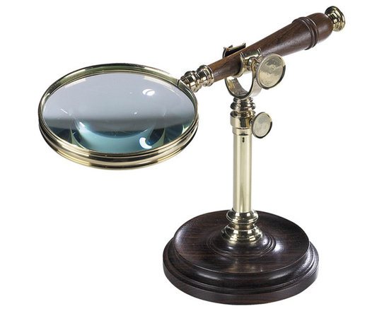 """Inviting Home - Magnifier with Stand - polished brass magnifier with stand; 7-1/8"""" x 4-1/2"""" x 9-3/4"""" This classic magnifier with stand is made of solid polished brass and wood. Heavyweight stand allows free use of hands. Magnifier with stand is a classic gift for any executive."""