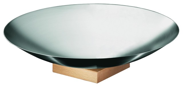 Jardino Collection Salad Bowl with Wooden Base modern-serving-bowls