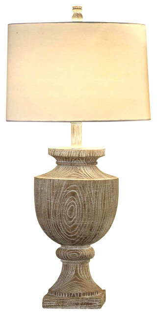 Avalon Carved Wood Table Lamp contemporary-table-lamps