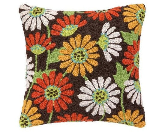 PHI - PHI Sunflowers Hook Pillow - Brown Sunflowers Hook pillow by PHI