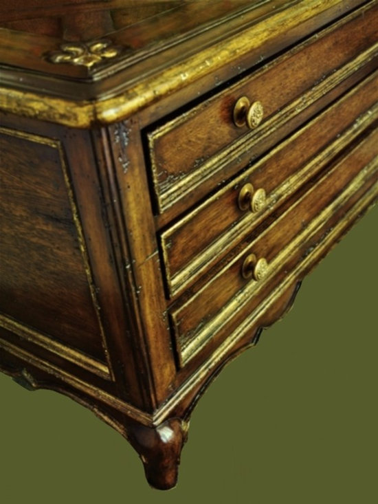 Cool Stuff - Country Manor Cocktail Table -  hand carved Fluer de LIs detail in corner  with finish and draw pull detail - Finish: Brair with aged vintage gold trim - 70 finishes and trims  available with optional decorative hardware