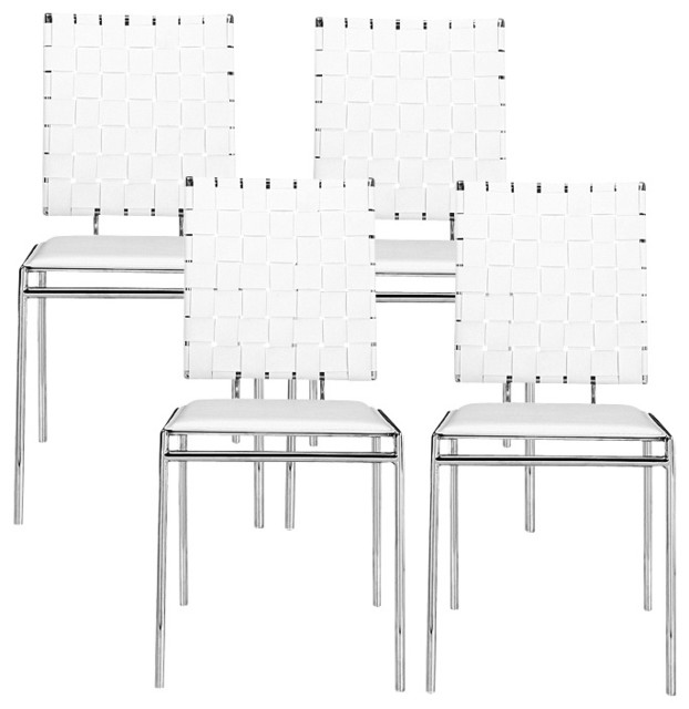 White Set of Four Criss Cross Chairs contemporary-chairs