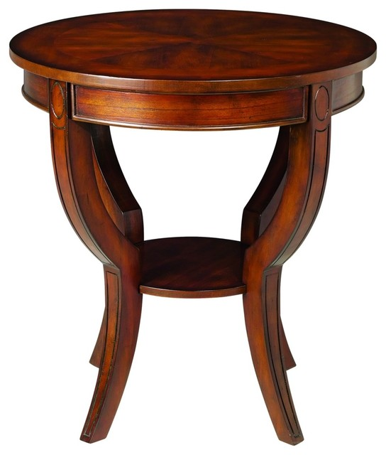 Traditional Americana Cherry Finish Round End Table traditional-side-tables-and-accent-tables