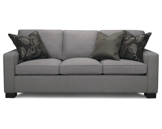Eastwood Sofa - The Eastwood sofa is the best 'go to' piece around! Made with three pillows on both the seat-deck and back, each is stuffed with a down and fibre wrap surrounding a resilient foam centre. Solid and clean lines make this an incredibly versatile sofa whether your style is fully modern or simply transitional. Shown in a classic gray linen-look fabric that makes it both durable and timeless.