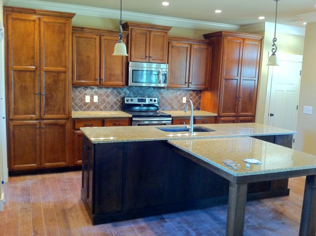 stained maple kitchen w dark stained island featuring kitchen islands with seating for 4 island table on kitchen