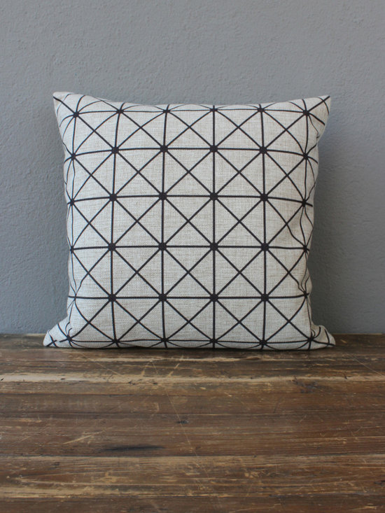 black lattice pillow – natural - view this item on our website for more information + purchasing availability: http://redinfred.com/shop/category/detail/throw-pillows/black-lattice-pillow-natural/