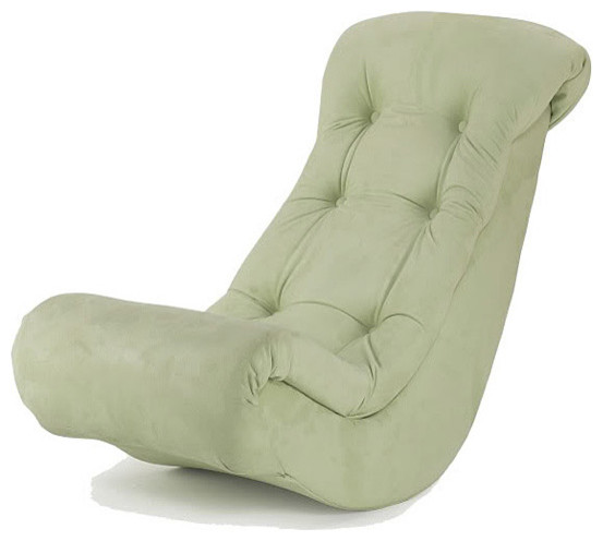 Hannah Baby Lime Micro Fiber Banana Rocker contemporary-rocking-chairs