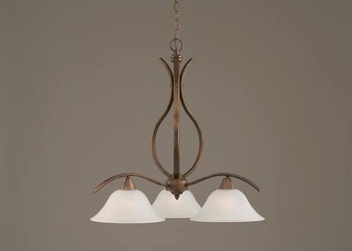 Swoop Bronze Downlight Three-Light Chandelier with 10-Inch Dew Drop Glass Shade modern-chandeliers
