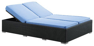 Evince Outdoor Patio Chaise in Espresso Light Blue modern-outdoor-chaise-lounges