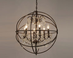 Foucault's Orb Crystal Iron 6-Light Chandelier modern-chandeliers