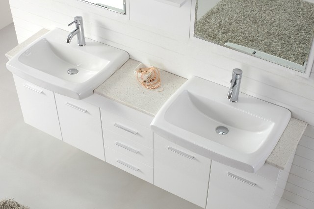 Roma 1800 Double Basin White Vanity Contemporary Bathroom Vanities And Sink Consoles
