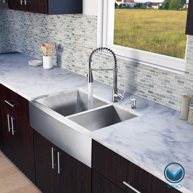 Vigo All-in-one 33-inch Farmhouse Stainless Steel Double Bowl Kitchen Sink and F contemporary-kitchen-sinks