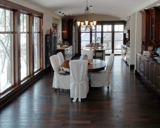 "Private Residences - 5"" European Golden Acacia Natural grade hardwood flooring, Victorian Collection hand scraped, hand beveled, dyed and stained in custom Black Walnut color, finished with Hardwax Oil."