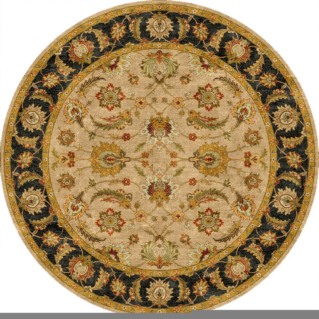 Traditional Oriental Pattern Beige /Brown Wool Tufted Rug - MY02, 8'RD traditional-area-rugs