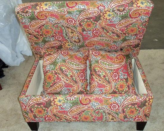 Customer Custom Orders - Rowe Hess Storage Ottoman at Barnett Furniture in Trussville / Birmingham, AL.  You Choose the Fabric.