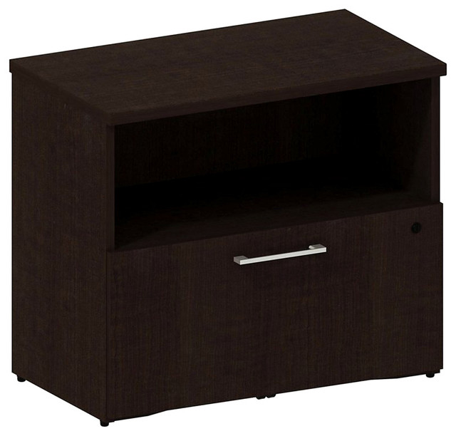 Bush 300 Series 1-Drawer Lateral File in Mocha Cherry - Transitional - Filing Cabinets - by Cymax