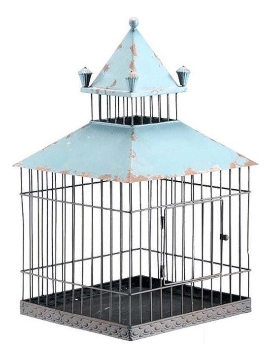 """Iron Birdcage - This iron birdcage with a Robin's Egg Blue roof has an antiqued finish giving it the perfect rustic feel and makes a perfect addition to any home. Dimensions: 10.8""""w x 10.8""""d x 18""""h"""