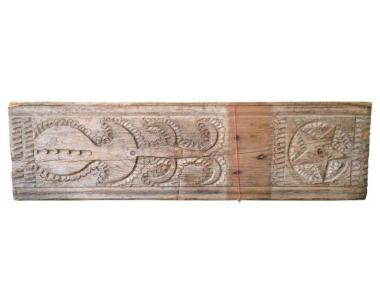 Wood Beam - Vintage Turkish carved wood beam with star design; has bracket for hanging.