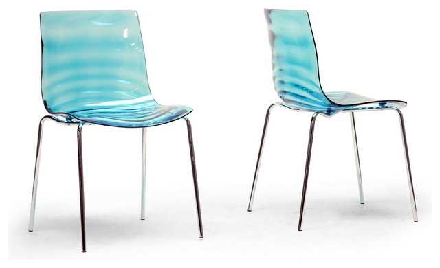 Baxton Studio Marisse Blue Plastic Modern Dining Chair (Set of 2) contemporary-dining-chairs