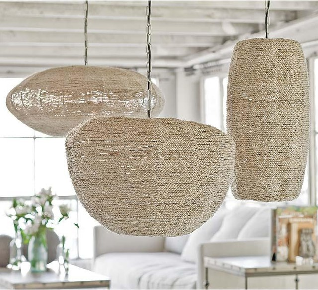 Regina Andrew Apple, Saucer and Cigar Jute Pendants eclectic pendant lighting