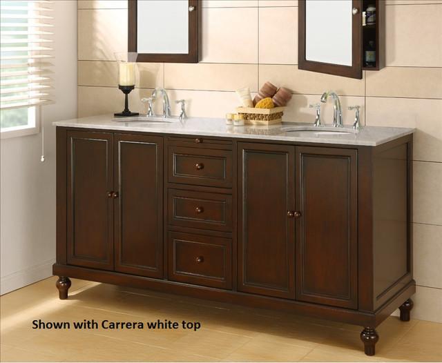 Classic dark brown marble 70 inch double vanity cabinet for Overstock com vanities