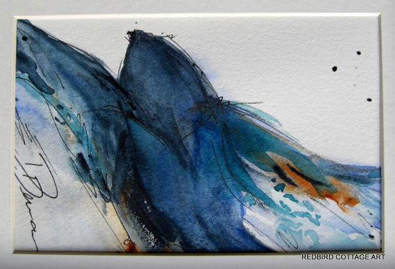 Bird Watercolor Painting of Bird Taking By Redbird Cottage Art contemporary artwork