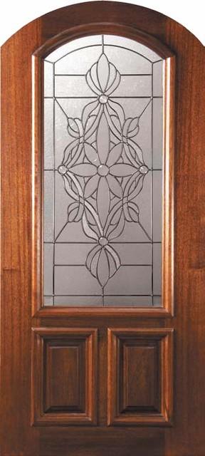 Prehung Single Door 80 Wood Mahogany Evangeline Arch Top Arch Lite mediterranean-front-doors