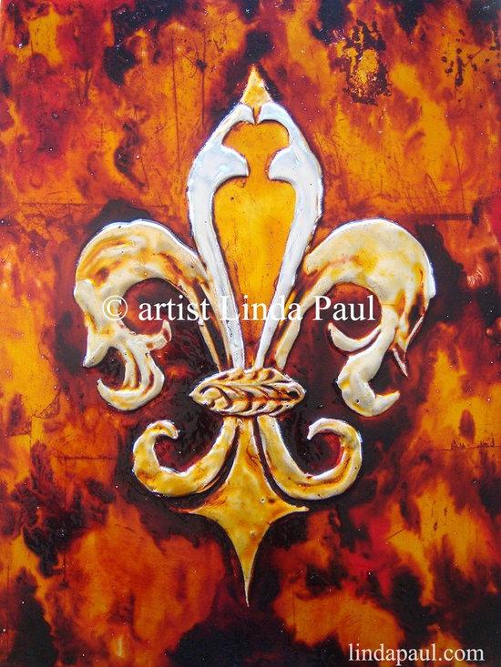 """Fleur de Lis Contemporary art Painting by linda Paul - """"Amber Fire"""" Fleur de Lis Painting by artist Linda Paul"""