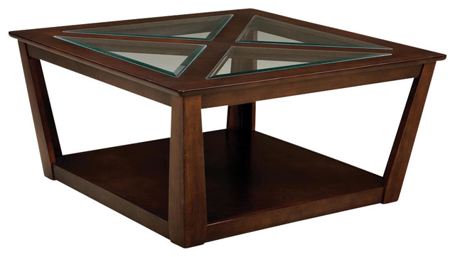 Standard Furniture City View Square Cocktail Table in Cherry traditional-coffee-tables